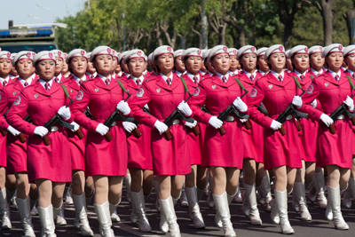 Chinese women marching