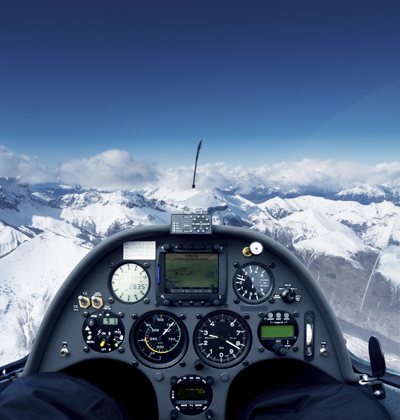 View of the Alps from a glider's cockpit