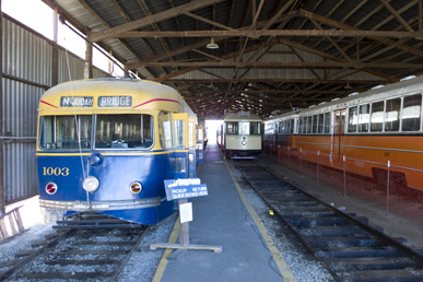 Streetcars in a shed