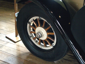 Wooden Spoked Automobile Wheel